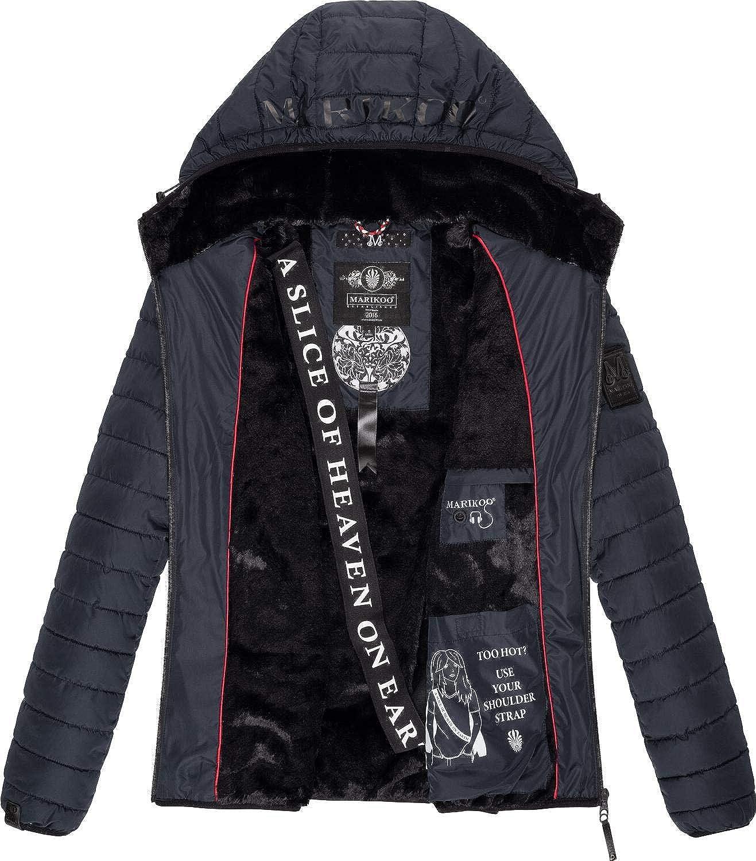 Marikoo Damen Winterjacke Steppjacke Outdoorjacke mit Kapuze Jaylaa XS-XXL Navy
