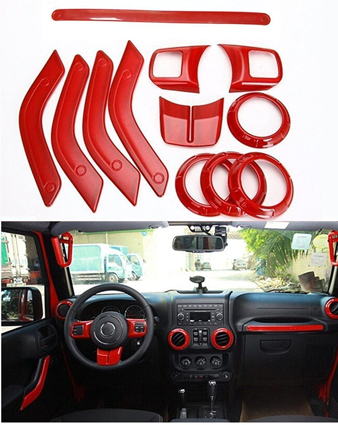 FMtoppeak 12pc/Kits Red ABS Auto Interior Parts Decoration Car Inner Dashboard Trim Cover for Jeep Wrangler 4 Door 2011-2016
