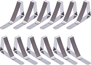 eBoot 12 Packs Tablecloth Clips Stainless Steel Table Cover Clamps Table Cloth Holders (Silver, 2.96 x 1.77 inches)