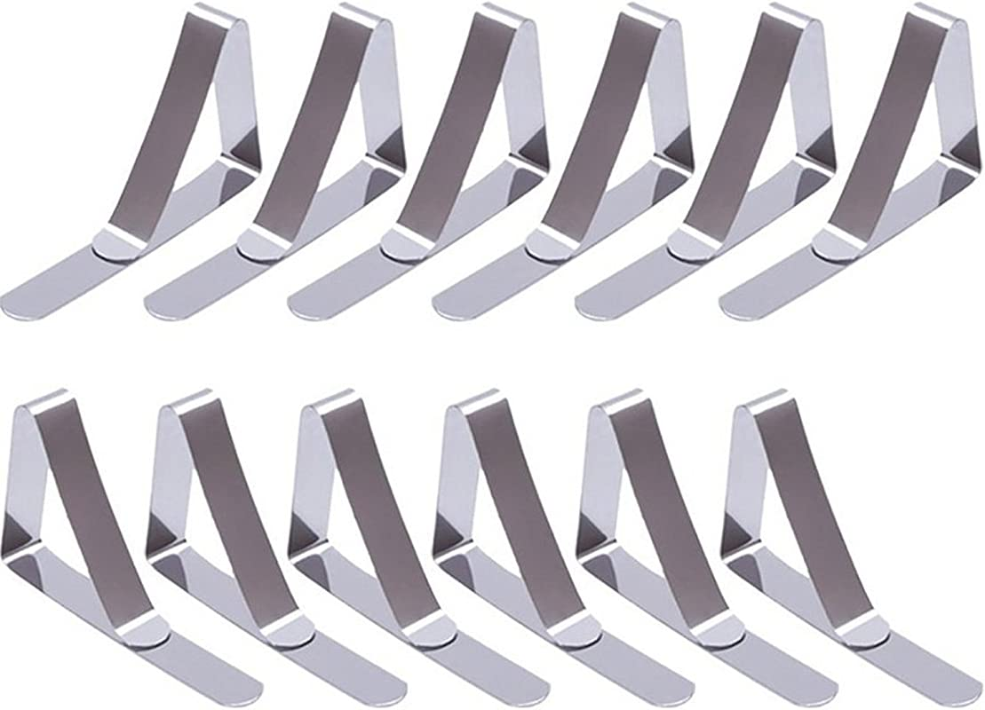 EBoot 12 Packs Tablecloth Clips Stainless Steel Table Cover Clamps Table Cloth Holders Silver 2 96 X 1 77 Inches