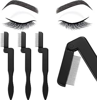 4 Pieces Eyelash Comb Foldable Eyelash Comb Curlers Stainless Steel Teeth Eyebrow Comb (Black)