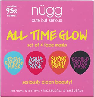 nügg Face Mask Glow Kit for Clean, Radiant and Dewy Skin; Pack of 4 Facial Mask Pods to Detox, Exfoliate, Hydrate and Revitalize Skin; Perfect Face Treat or Beauty Gift Set (4 x 0.33fl.oz.)