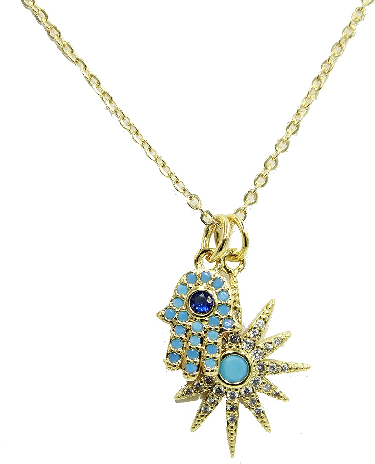 Hamsa Pendant New mail order with Recommendation Star 18k Plated Inch Gold Cha 20