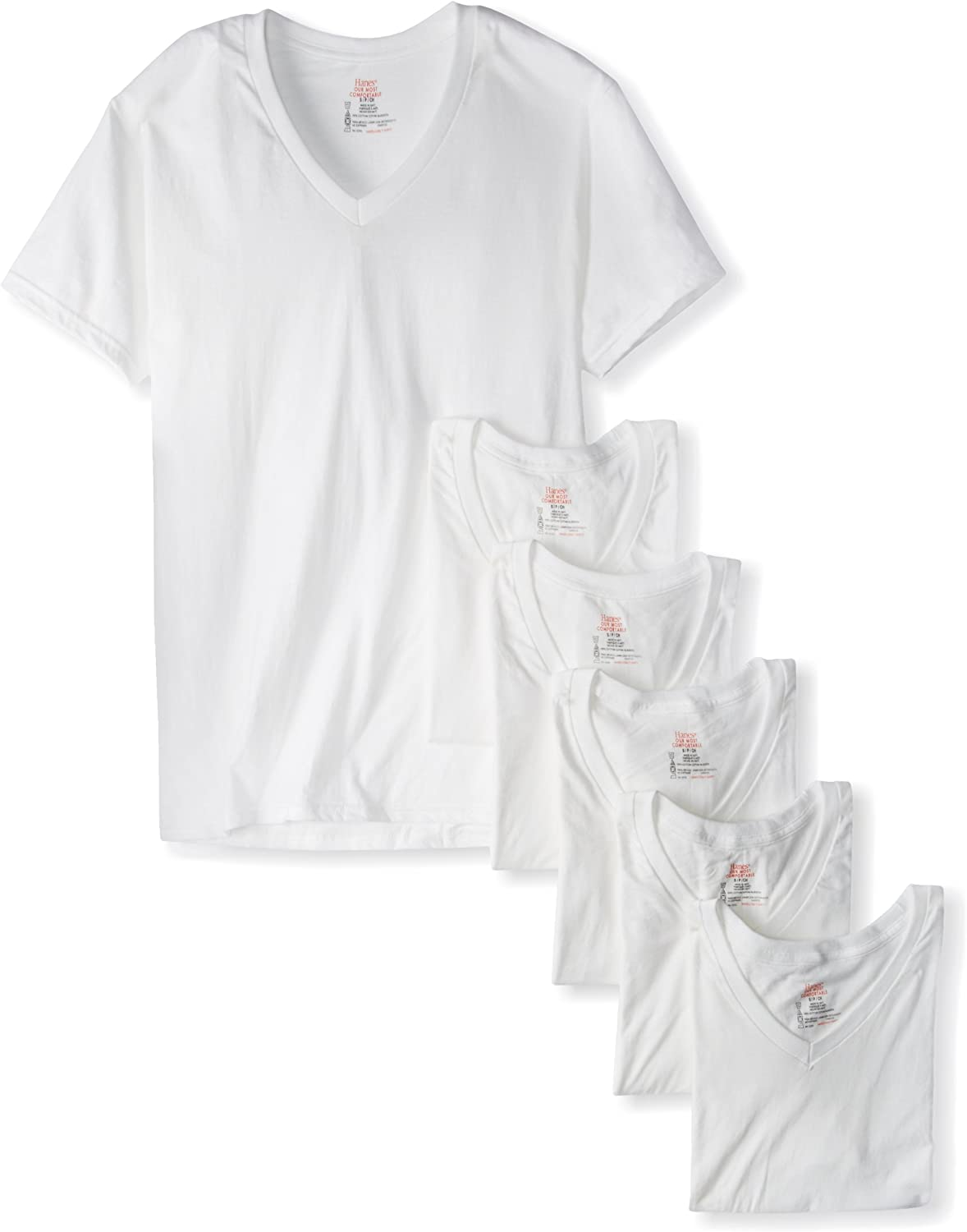 6 Pack 6 X-Large Hanes Men/'s White and Assorted V-Neck T-Shirts White