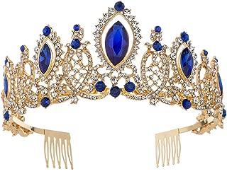 Baroque Luxurious Crystal Rhinestone Wedding Bridal Festival Crown for Women Princess Headpieces Girls Tiaras Headbands (Gold Blue)
