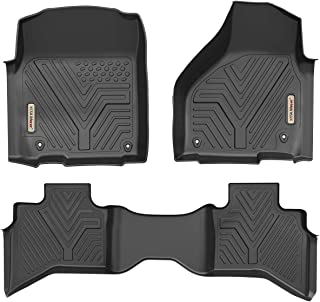 YITAMOTOR Floor Mats for Ram 1500, Custom Fit Floor Liners for 2019 Ram 1500 Classic Quad Cab, 2012-2018 Dodge Ram 1500 Quad Cab Only, 1st & 2nd Row All Weather Protection