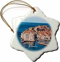 "3dRose Image of Croatia Seaside Ancient Buildings and Marina Snowflake Ornament, 3"""