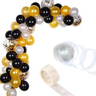 Tatuo 112 Pieces Balloon Garland Kit Balloon Arch Garland for Wedding Birthday Party Decorations (White Gold Black)