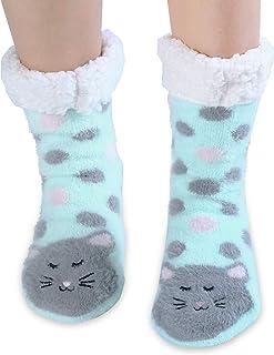 Calcetines de forro polar para mujer, antideslizantes, para invierno 4-7