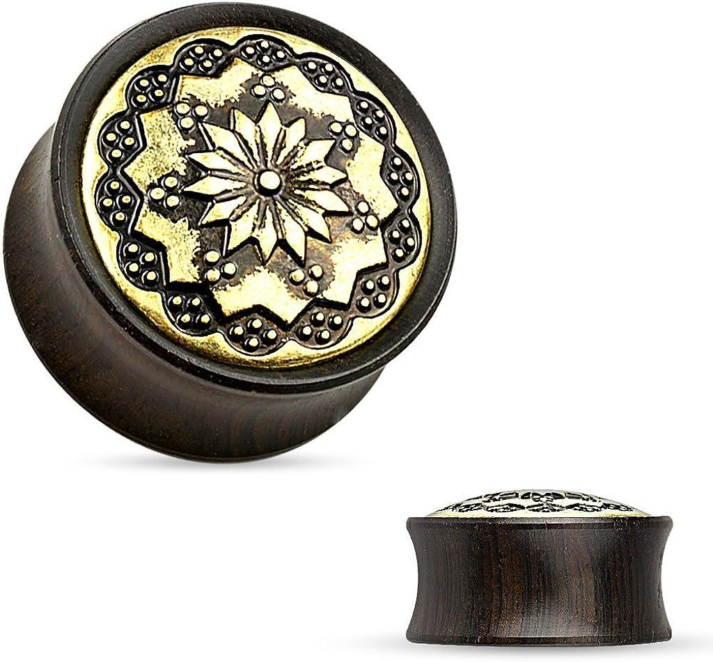 Zaya Body Jewelry Pair of Organic Black Wood Hand Carved Tribal Brass Ear Plugs Gauges 2g 0g 00g 1/2