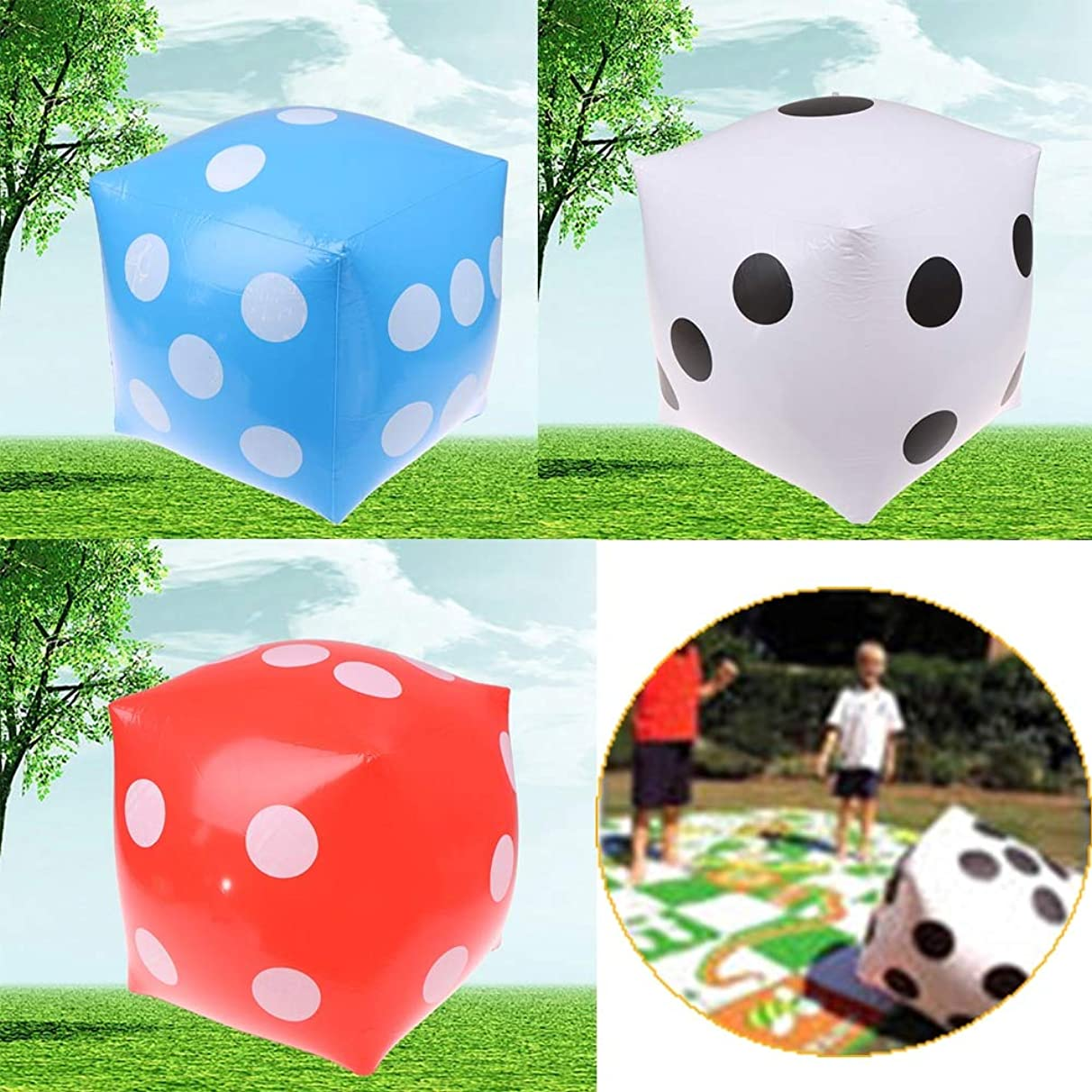 Fishing-Accessories - 35cm Inflatable Multi Color Blow-Up Cube Dice Toy Stage Prop Group Game Tool Casino Poker Party Decorations Pool Beach Toy