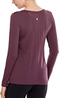 CRZ YOGA Women's Seamless Athletic Long Sleeves Sports Running Shirt Breathable Gym Workout Top