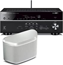 Yamaha RX-V581 7.2-Channel Dolby Atmos AV Receiver with WX-030 MusicCast Wireless Speaker (White)