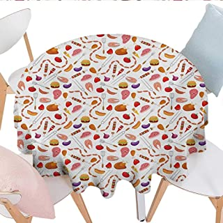 BBQ Party, Tablecloth Cotton Linen Dust-Proof Table Cover, Grilling Themed Food Elements Hamburger Hotdog Steak and Sausage Pattern Cooking, Home Decoration Outdoor, (Round, 70 Inch, Multicolor)