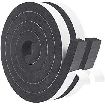 Gap Blocker Total 32 Feet Long 2 Pac Anti-Collision Weather Stripping for Door and Window High Density Sponge Rubber Foam Tape Strip for Insulation Anti-Vibration 1//3 Inch Thick X 3//4 Inch Wide