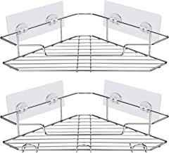 AmazerBath Adhesive Bathroom Corner Shower Shelf Corner Shower Caddy with Hooks Stainless Steel Shower Storage Organizer Wall Mounted for Bathroom, Kitchen, Toilet - 2 Pack, Chrome