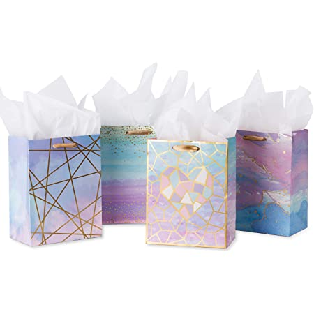 """Loveinside Medium Size Gift Bags-Colorful Marble Pattern Gift Bag with Tissue Paper for Shopping, Parties, Wedding, Baby Shower, Craft-4 Pack-7"""" X 4"""" X 9"""""""