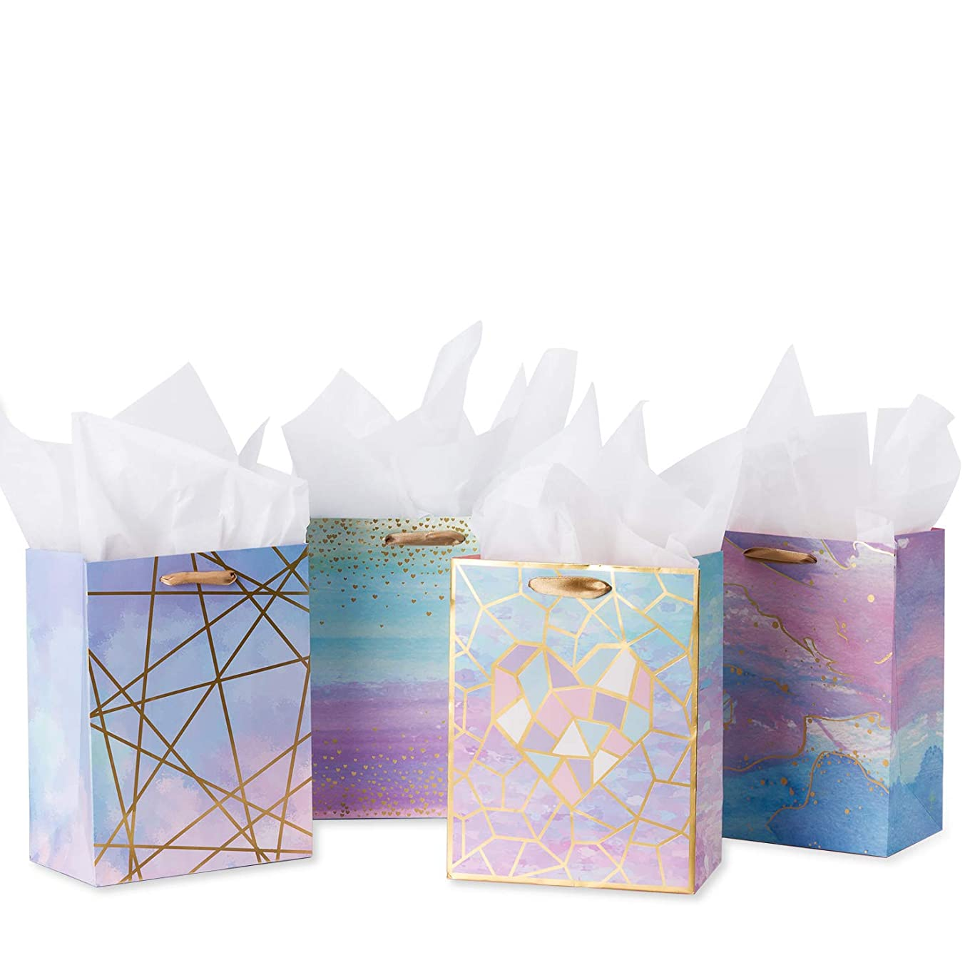 Loveinside Medium Size Gift Bags-Coloful Marble Pattern Gift Bag with Tissue Paper for Shopping,Parties,Wedding, Baby Shower, Craft-4 Pack-7