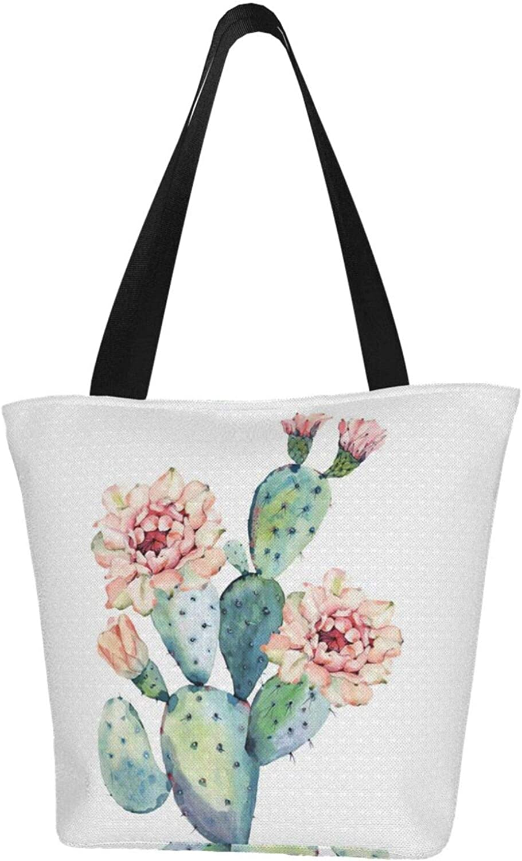 Green Cactus Flower Floral Charm Themed Printed Women Canvas Handbag Zipper Shoulder Bag Work Booksbag Tote Purse Leisure Hobo Bag For Shopping