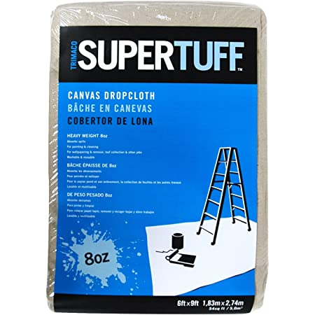 Trimaco 58909 SuperTuff 8 oz Premium Contractor Grade Heavyweight Canvas Drop Cloth, 6' X 9'