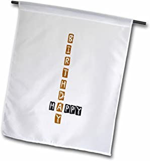3dRose Happy Birthday - Scrabble Style - Fun Word Art - Garden Flag, 12 by 18""