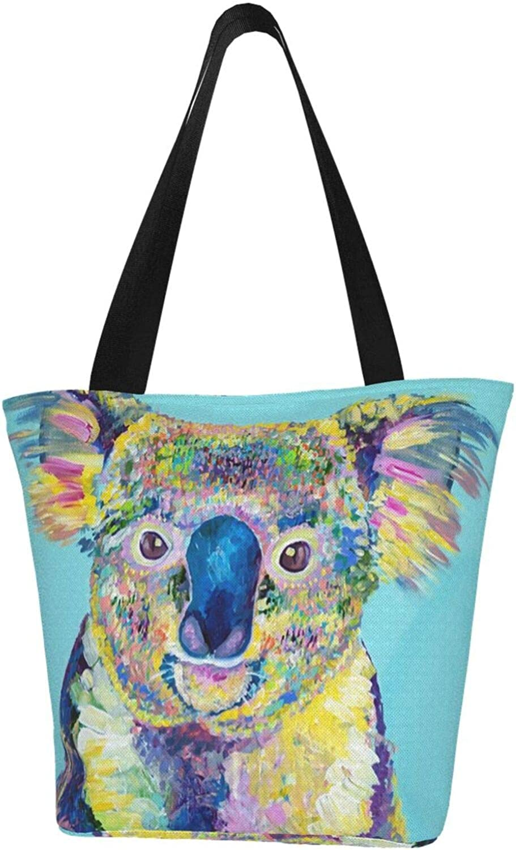 Blue Art Koala Painting Themed Printed Women Canvas Handbag Zipper Shoulder Bag Work Booksbag Tote Purse Leisure Hobo Bag For Shopping