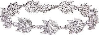 Wedding Bridal Bracelet for Brides,Bridesmaid-Crystal Cubic Zirconia Bracelet Leaf Vine Vintage Style