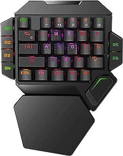 لوحة مفاتيح ميكانيكية للالعاب كيه 50 ليد واحدة وبمسند للمعصم وباضاءة خلفية بالفضاء اللوني احمر اخضر ازرق، لوحة مفاتيح سلكي...
