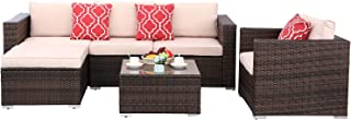 Polar Aurora 6pcs Outdoor Patio Sofa Set PE Rattan Brown Wicker Sectional Furniture Outside Couch w/Beige Washable Seat Cushions & Modern Glass Coffee Table