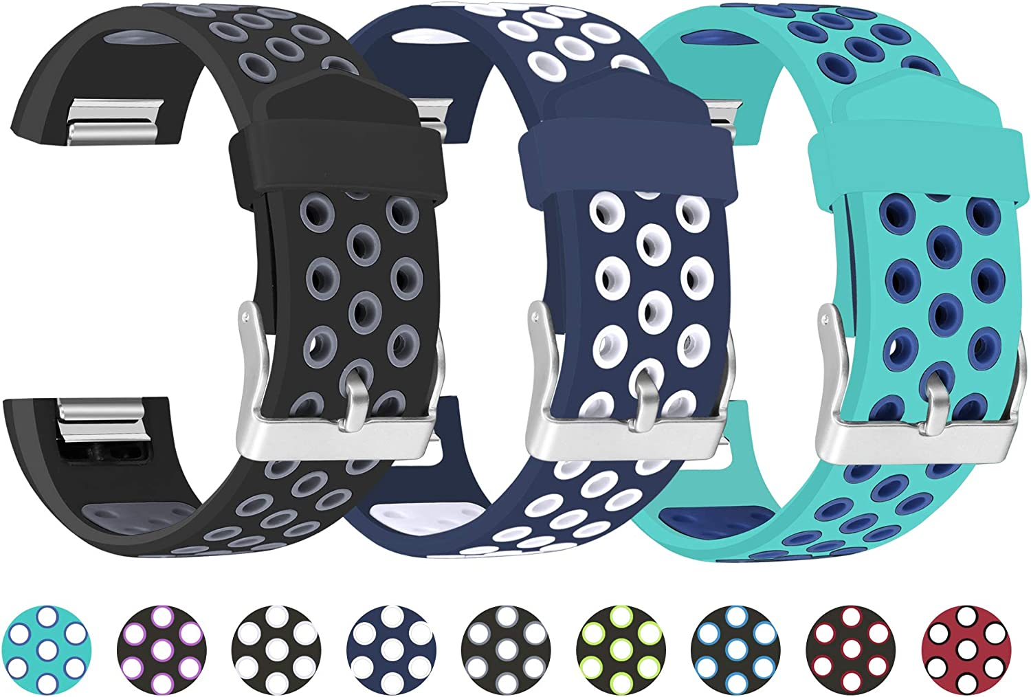 Mosstek Compatible with Fitbit Charge 2 Bands for Men Women, Sport Silicone Breathable Replacement Bands with Air Holes Compatible with Fitbit Charge 2 for Women Men, Large Small