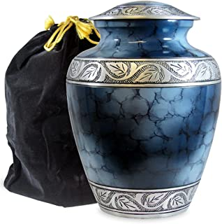 Heavenly Peace Lovely Dark Blue Adult Cremation Urn For Human Ashes - This Beautiful Large Urn is Perfect to Honor Your Loved One - A Warm Comforting Place For Your Cherished Remains - with Velvet Bag