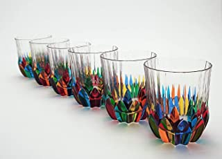 lot de 6 verres Adagio cl.31,5 verre éco-cristal multicolore peint à la main Style Murano Venise