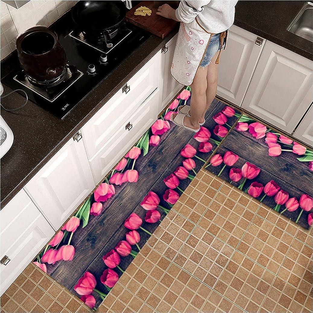前者発生する揃えるバスルームマット、化学繊維ストリップ家庭用ドアマット、ノンスリップ厚み付けキッチンカーペットフットパッドのリビングルーム灰色 UOMUN (Size : 50X80+45X240cm)