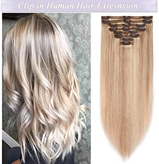 s-noilite Clip in Human Hair Extensions 100% Real Remy Thick True Double Weft Full Head 8 Pieces 18 Clips Straight Silky (22 Inch - 160g,Ash Blonde/Bleach Blonde (#18/613))
