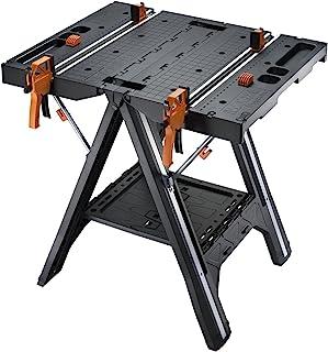 Worx WX051 Pegasus Multifunctionele Werktafel En Zaagbok, Met Snelklemmen En Houders, Zwart, 78,7 x 63,5 x 81,3 cm