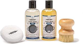 CLARK'S Cast Iron Complete Care Kit | Cast Iron Seasoning Oil | Cast Iron Soap | Scrub Brush and Applicator Pad | Maintain...