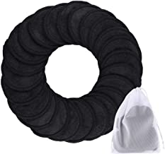 SIQUK 24 Pieces Makeup Remover Pads Reusable Black Face Cleansing Pads 2 Layers Washable Organic Bamboo Cotton Round Clean...