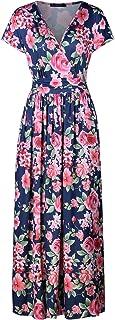 OUGES Women's V-Neck Pattern Pocket Maxi Long Dress