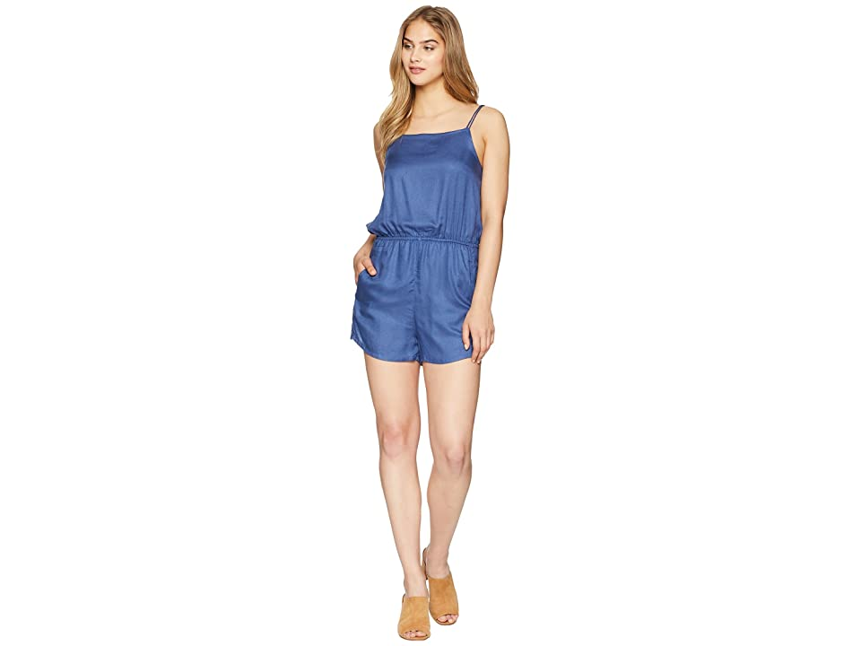 RVCA Lily Woven Romper (Navy) Women