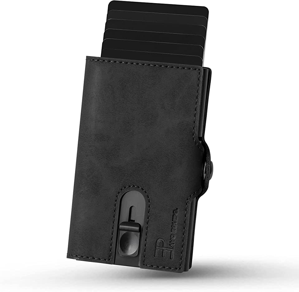 Slim Wallet   Kartenetui mit Geldclip und Münzfach   Geldbörse   RFID Schutz   Mini Portemonnaie (Schwarz)