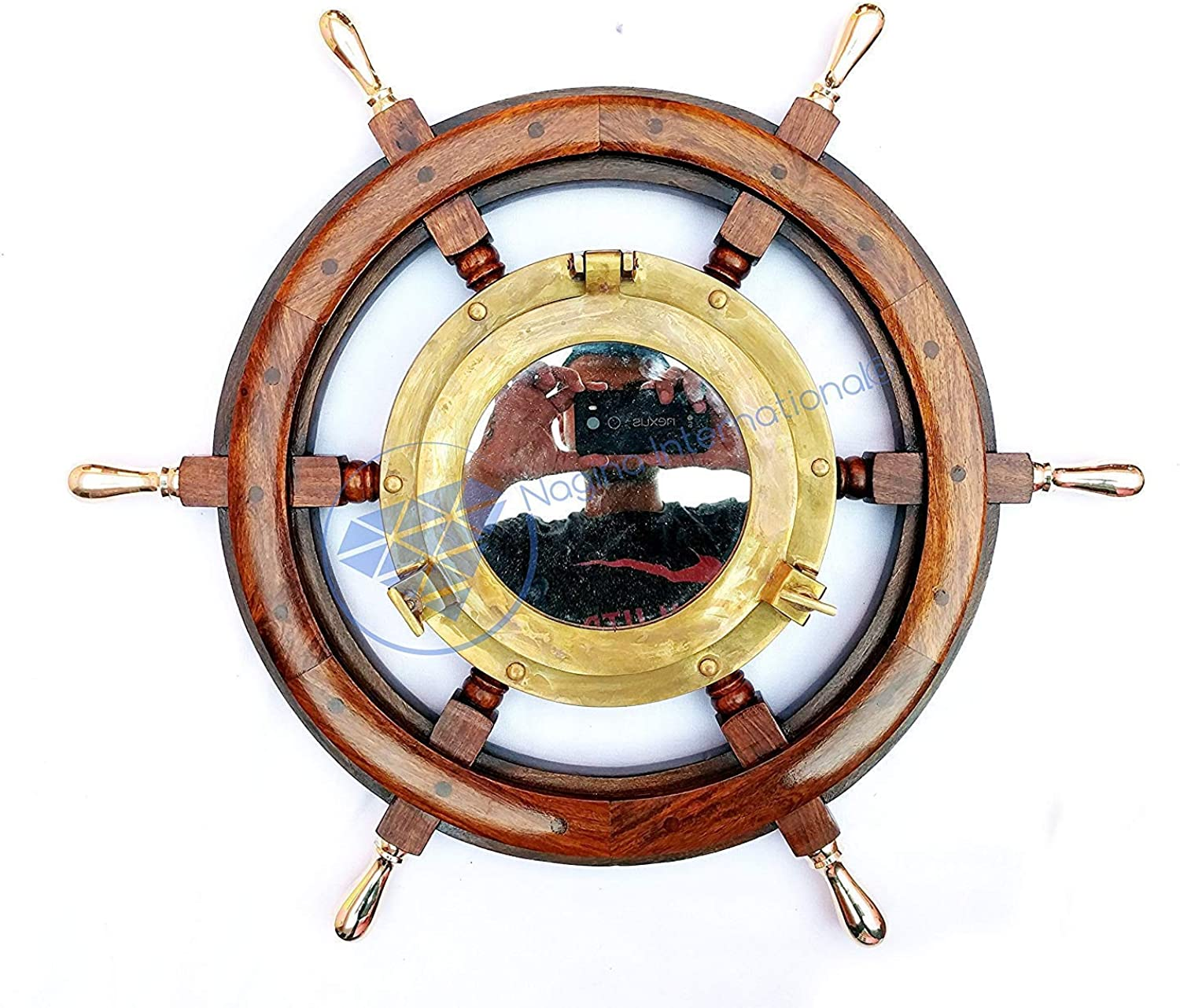 Deluxe pinkwood Crafted Nautical Wooden Ship Wheel With Antique Brass Porthole Window   Authentic Pirate Decor Transparent Glass   Nagina International (18 Inches)