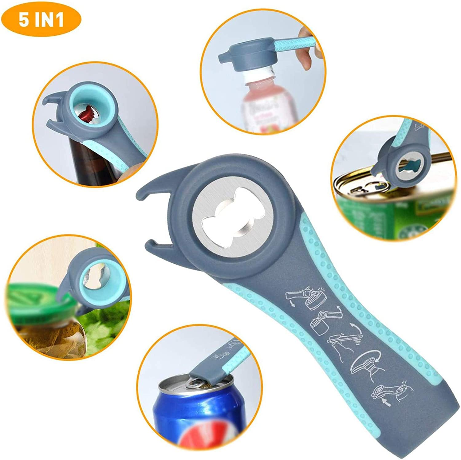 Premium 6-in-1 multi opener and 5-in-1 Jar and Bottle Opener Ideal for Seniors Arthritis Suffers and Weak Hands black