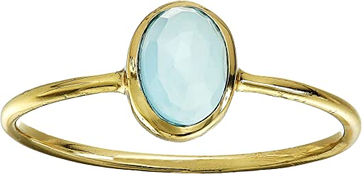 Brass Base/18K Gold Plating/E-Coat/Blue Chalcedony