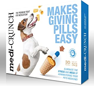 Dog Pill Pouch with Peanut Butter by MediCrunch | Our Treat Promotes Wellness and Reduces Stress/Anxiety When Administering Your Pets Medication/Vitamins | 30 Crunchy Wafer Capsules for Medicine
