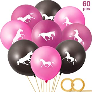 60 Pieces Horse Latex Balloons Cowgirl Balloons and 2 Rolls Gold Balloon Ribbon for Cowboy Party Favor Horse Themed Party Baby Shower Birthday Party Decorations