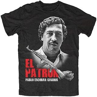 Patron Pablo Black T-Shirt Mens Fashion T Shirt Tops Clothing, Kult Dope Crime Cartel Drugs Medellin,Kolumbien,Escobar