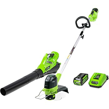Greenworks STBA40B210 G-MAX 40V Cordless String Trimmer and Leaf Blower Combo Pack, 2.0Ah Battery and Charger Included