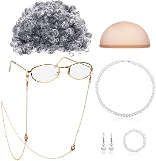 Old Lady Cosplay Set Granny Wig Cap Glasses Chains Cords Pearl Beads Necklace