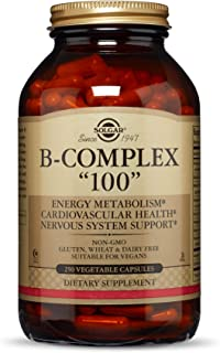 "Solgar B-Complex ""100"", 250 Vegetable Capsules - Heart Health - Nervous System Support - Supports Energy Metabolism - Non-GMO, Vegan, Gluten Free, Dairy Free, Kosher, Halal - 250 Servings"
