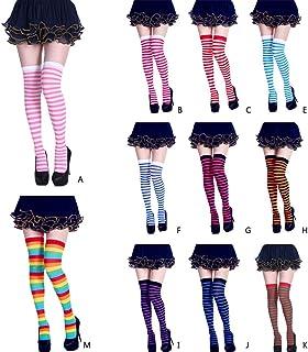 Freshsell - Calcetines Largos a Rayas para Mujer, Color contrastante, Medias Altas hasta el Muslo, Cosplay, Halloween M# Rainbow
